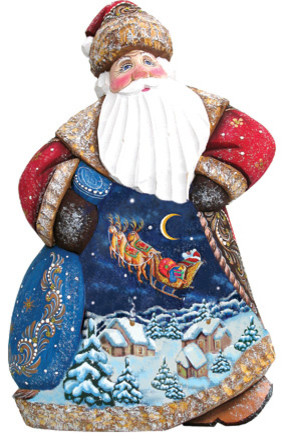Up & Away Dancing Santa, Woodcarved Figurine.