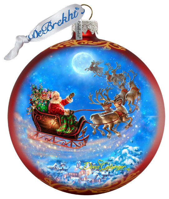 Santa Magical Flight Glass Ornament Traditional Christmas Ornaments By G Debrekht