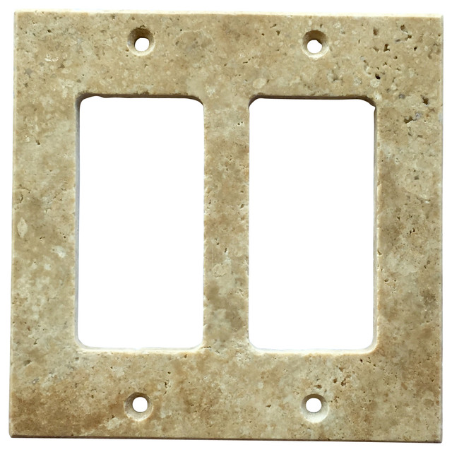 Light Walnut Travertine Switch Plate Cover Double Rocker