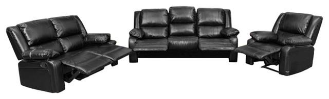Flash Furniture Harmony 3 Piece Leather Reclining Sofa Set In Black.