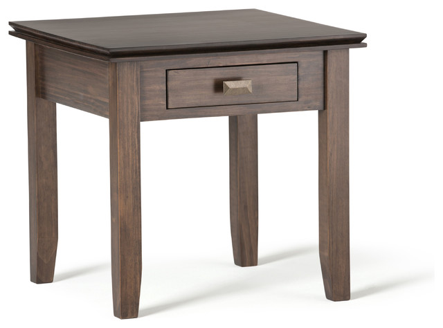Clayton Side Table, Natural Aged Brown.