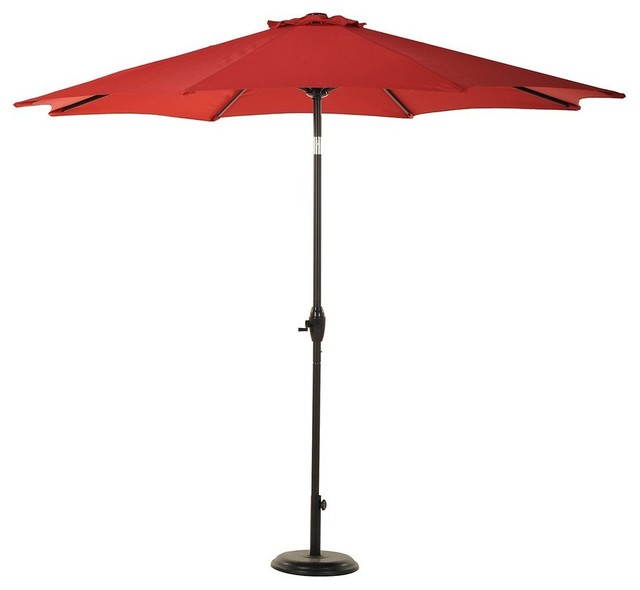 Sunbrella 8 Ribs 9&x27; Outdoor Patio Umbrella With Auto Tilt And Crank, Red.