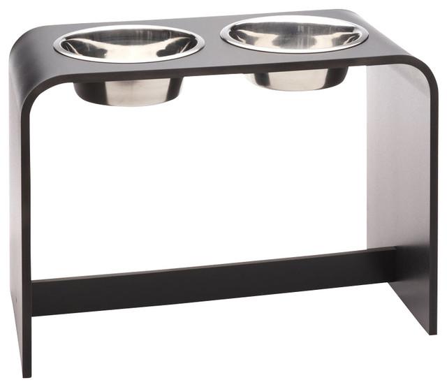2 bowl elevated dog feeder black