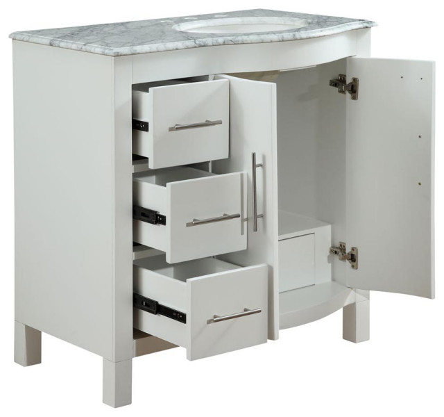 """36"""" White Bathroom Vanity with Choice of Offset Sink ..."""