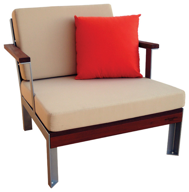 Modern Outdoor Club Chair, Ipe Wood Lounge Chair With Cushions  Contemporary Outdoor Lounge
