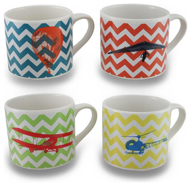 31a67a1bdd7 Set / 4 Flights of Fantasy Colorful Chevron Striped 20 oz. Ceramic Mug -  Contemporary - Mugs - by Zeckos