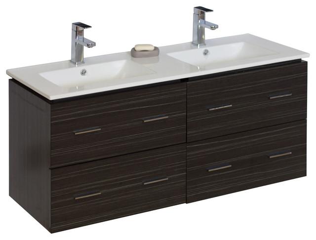 "Modern Wall Mount Plywood-Melamine Vanity Base Only, Dawn Gray, 46""x17"""