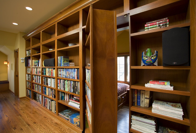 Hidden Bookcase Entrance to the Office traditional-home-office