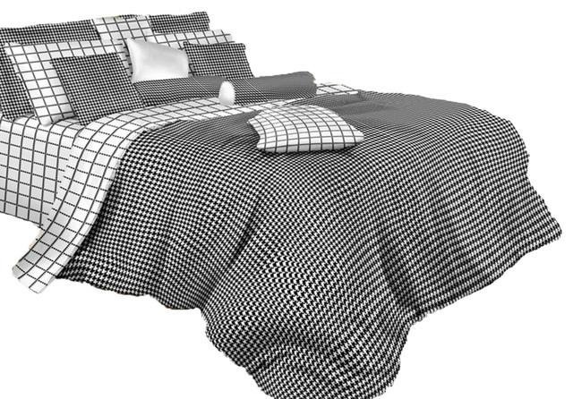 Cotton Duvet Cover Set Dolce Mela, Black And White Check Queen Bedding