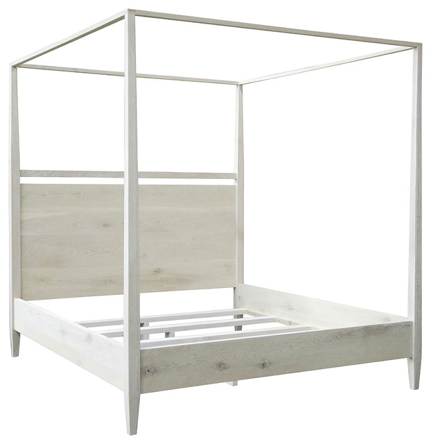 Aileen Coastal Beach White Wash 4 Poster Oak Bed Queen Style Canopy Beds By Kathy Kuo Home