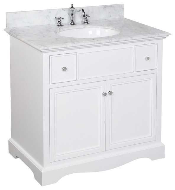 "Emily 36"" Single Bathroom Vanity With Carrara Top, White."