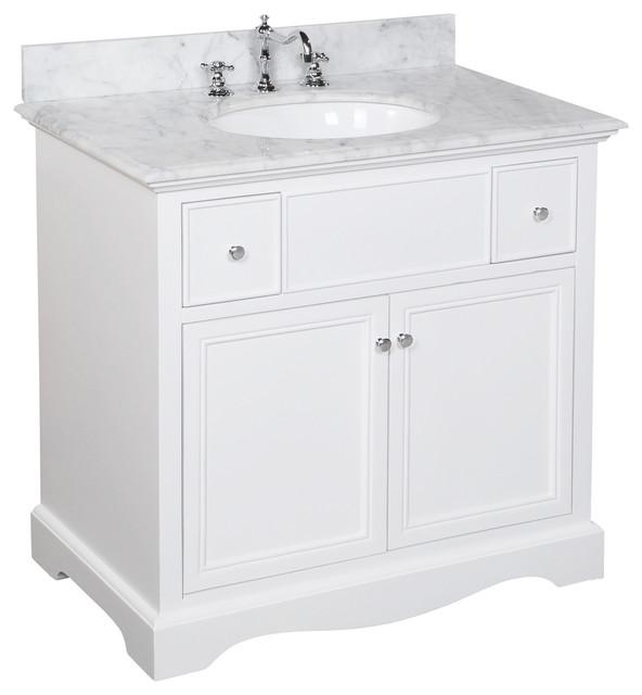 "Traditional Bathroom Vanities emily 36"" single bathroom vanity with carrara top - traditional"