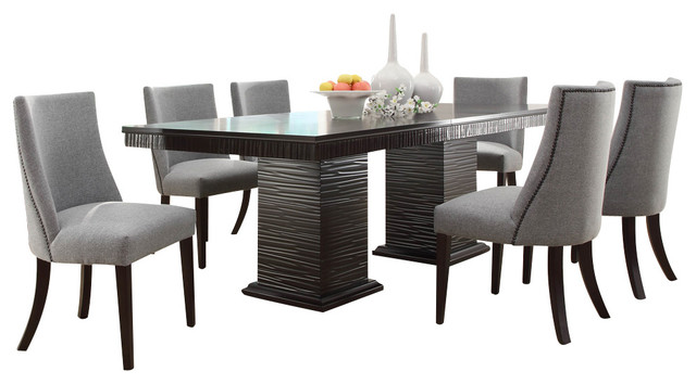 Homelegance Chicago 7 Piece Pedestal Dining Room Set In Deep Espresso