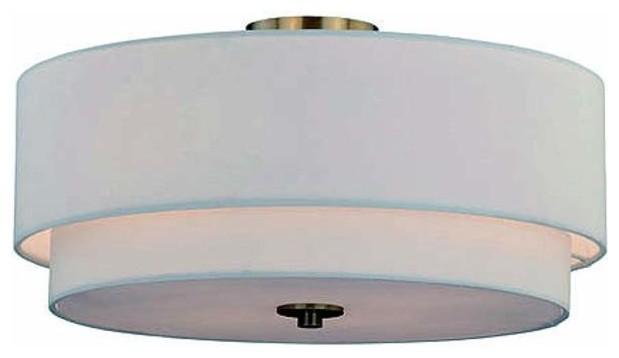 "Burnaby 4-Light Semi Flush Steel, Matte Brass, 20.5""."