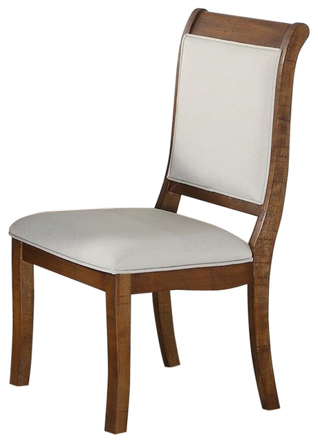 Wooden Dining Chairs With Curved Back, Set Of 2, Brown And White