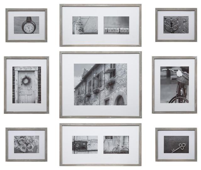 9 Piece Gray Wash Wood Photo Frame Wall