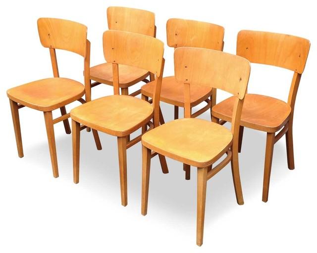 6 chaises de bistrot baumann 1950 r tro chaise de salle manger autres p rim tres par. Black Bedroom Furniture Sets. Home Design Ideas