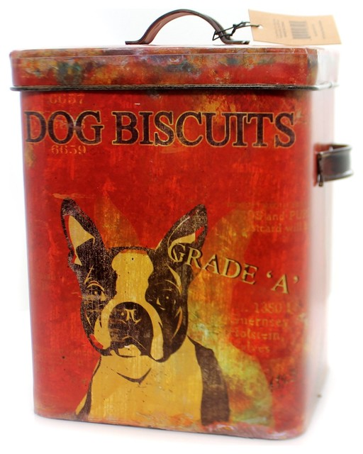 Tabletop Dog Buscuit Tin Metal Treats Boston Terrier De0791.