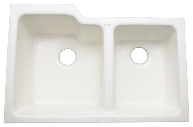 Medium image of ceco   redondo   enameled cast iron undermount 60 40 double bowl sink white