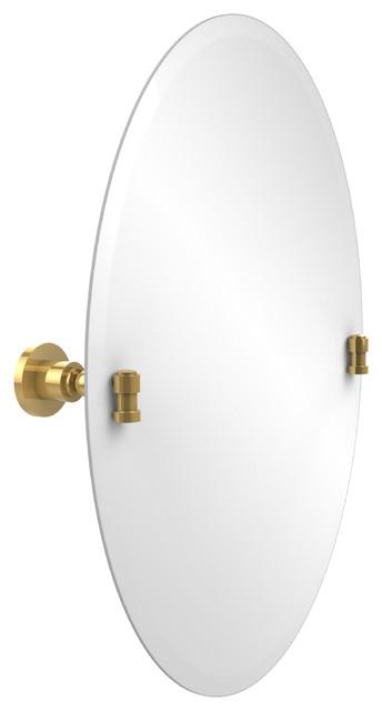 Frameless Oval Tilt Mirror With Beveled Edge, Unlacquered Brass by Avondale Decor, LLC