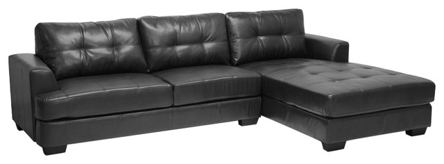 Amazing Baxton Studio Dobson Leather Modern Sectional Sofa Black Gmtry Best Dining Table And Chair Ideas Images Gmtryco