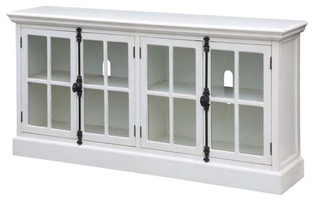 Coventry White Oak Finish 4 Door Media Console  Traditional Entertainment Centers And