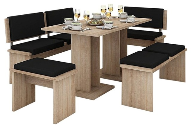 5-Piece Breakfast Kitchen Nook Table Set, Bench Seating, Oak/Black