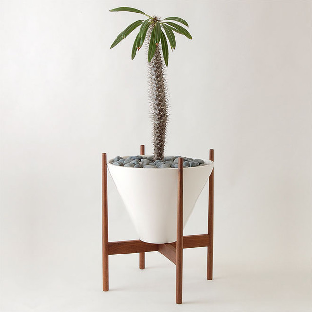Walnut wooden stand modern indoor pots and planters Plant stands for indoors