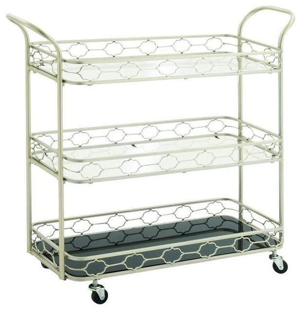 Metal Mirror 3 Tier Bar Cart Mediterranean Bar Carts