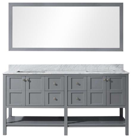 "Lockwood Double Vanity, Gray, With Mirror, Square Basin, 72""."