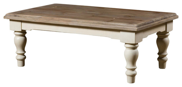 french country solid wood coffee table with turned legs