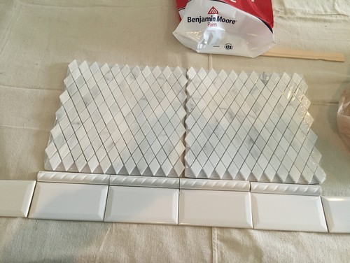 I am deciding between this small diamond shaped tile, white subway, or a  line of white subway below the diamond tile. I am having the hardest  decision with ... - Help With Backsplash...again