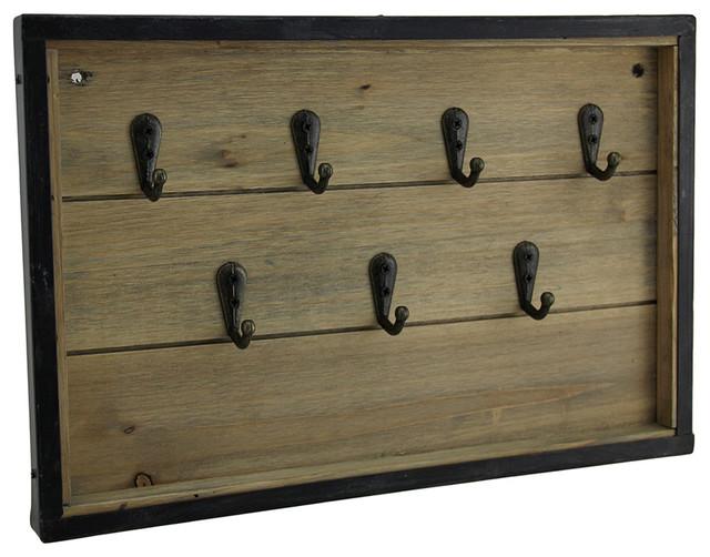 Rustic Framed Wood Panel Key Rack Wall Hanging.
