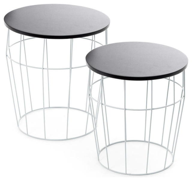 Cocoa Side/End Tables, Set of 2, Blue and Black