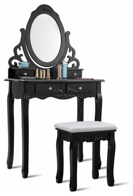 Superb Vanity Table Set With 4 Drawers 360 Rotate Mirror Pine Wood Legs Padded Stool Pabps2019 Chair Design Images Pabps2019Com