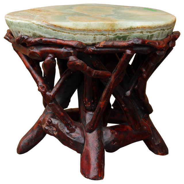 Crystal Jade Stone Top Bamboo Wood Stick Accent Stool Table Cs2411