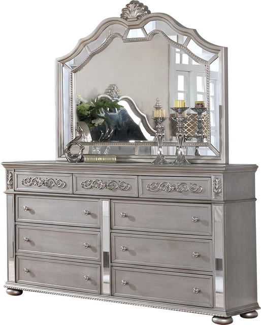 Gray Traditional 9-Drawer Dresser, Mirror.