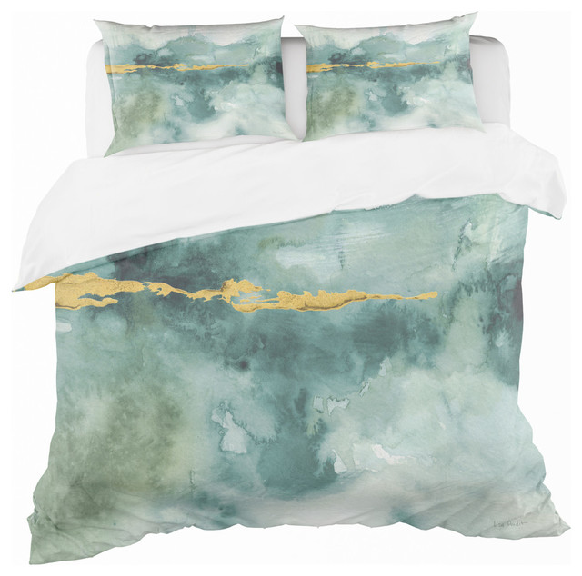 Blue Watercolor Impression With Gold Duvet Cover Set Contemporary Duvet Covers And Duvet Sets By Design Art Usa