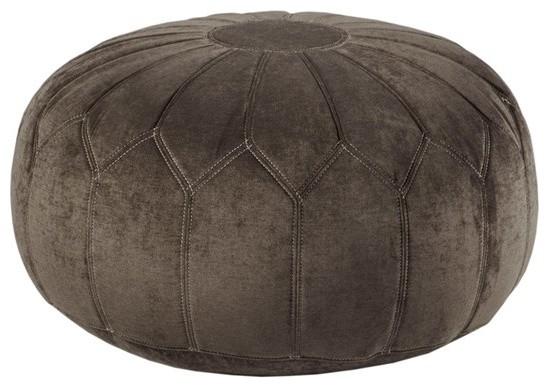 Round Pouf Ottoman, Brown