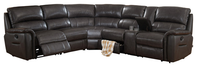 Camino Leather Reclining Sectional, Charcoal Gray - Transitional ...