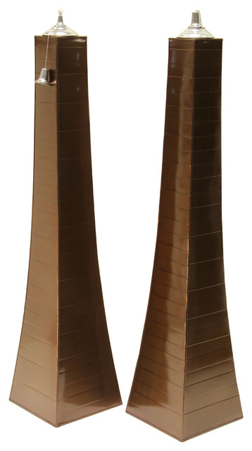 Large Pyramid Torchs, Set of 2, Copper