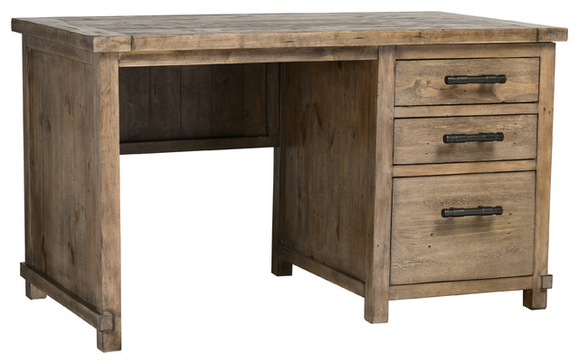 Quincy Reclaimed Pine 3 Drawer Desk By Kosas Home Rustic Desks And Hutches