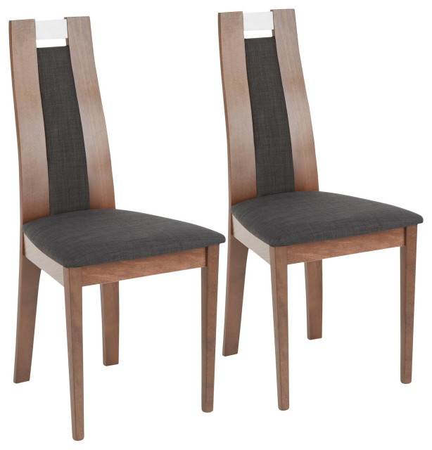 Aspen Dining Chair, Set of 2, Walnut Wood, Charcoal Fabric