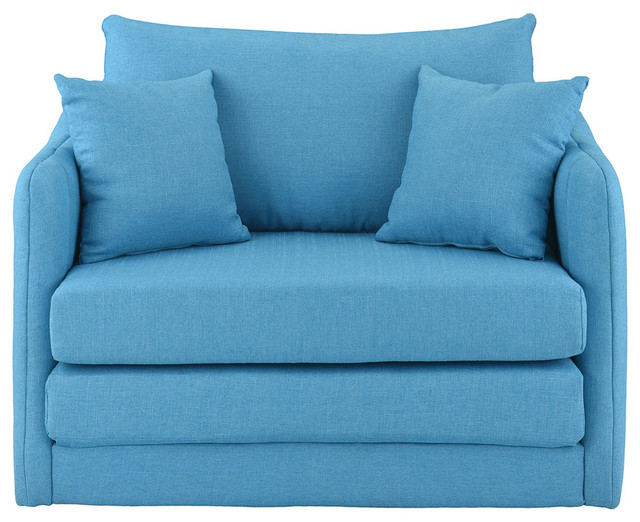 Large Three Seat Wide Futon Sofa Bed Couch Sleeper Convertible Lounger Blue