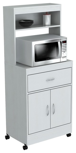 Inval White Microwave Storage Cabinet