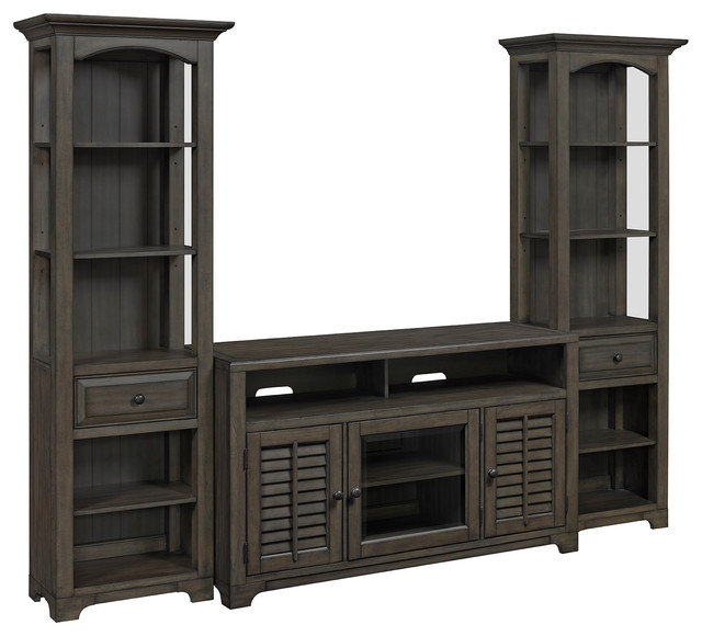 Alois 3-Piece Distressed Gray Media Console Tv Stand With 2 Bookcase Units.