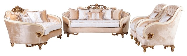 Rosabella Luxury Victorian Sofa 4 Piece Set Victorian Living Room Furniture Sets By Usa Furniture Warehouse Houzz