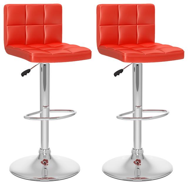 high back adjustable bar stools set of 2 red leatherette