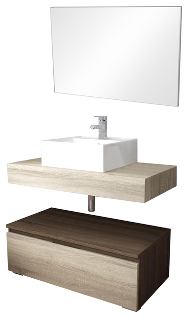Slim Dual-Tone Bathroom Vanity Unit, 80 cm