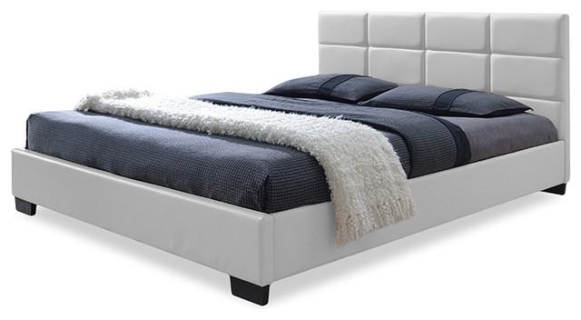 Vivaldi Faux Leather Padded Platform Base Bed, Full, White.